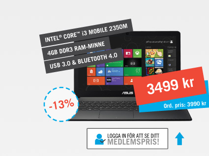 ASUS-laptop med Core i3 3499kr