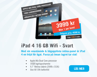 iPad 4 16GB WiFi - Svart 3999kr