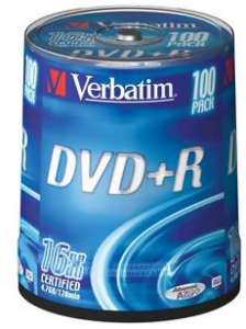 Bild Verbatim DVD+R 16X 4,7GB 100-Pack Spindel