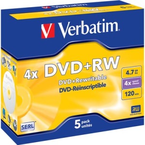 Bild Verbatim DVD+RW 5-pack, 4x speed, Jewelcase