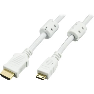Bild Deltaco HDMI-kabel 1.4 19-pin ha - Mini ha, 1 meter, vit.