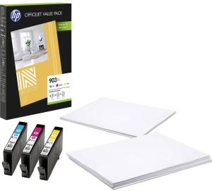 Bild HP 903XL Multi pack - Cyan, Magenta & Gul + Papper