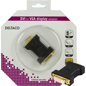Bild Deltaco DVI-adapter, DVI-I Single Link - VGA 24+5-pin ho - 15-pin ha