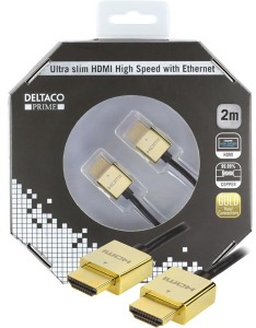 Bild Deltaco ultratunn HDMI-kabel, 3,6mm diameter, 2 meter