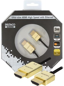 Bild Deltaco ultratunn HDMI-kabel. 3,6mm diameter, 3 meter