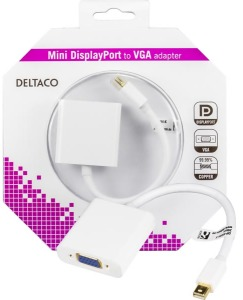 Bild Deltaco mini DisplayPort till VGA-adapter 20-pin ha - 15-pin ho 0,05m
