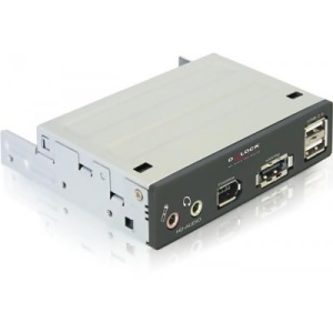 "Bild DeLock 3,5"" frontpanel med power over eSATA/USB/Firewire/ljud-portar"