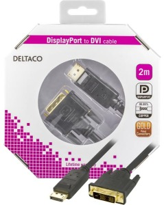 Bild Deltaco DisplayPort till DVI-D Single Link monitorkabel, ha - ha, 2m