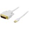 Produktbild Deltaco mini DisplayPort till DVI-D Single Link, 20-pin ha-24-pin ha, 2m, vit