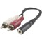 Produktbild Deltaco Multimedia-adapter 3,5mm ho till 2xRCA ha, 10cm